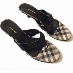 Burberry Plaid Sandals Shoes Heels Slides Leather